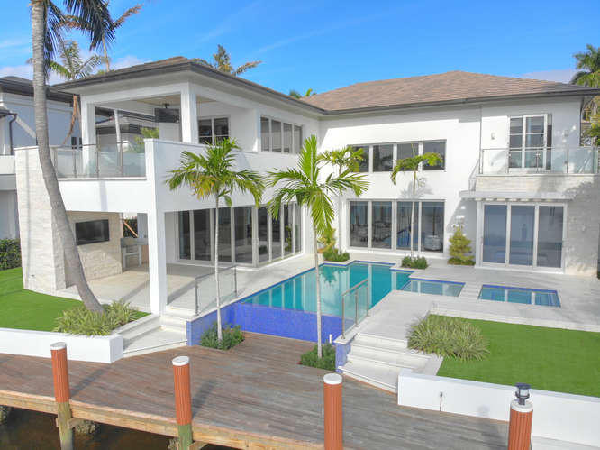 Rear View with Pool & Dock