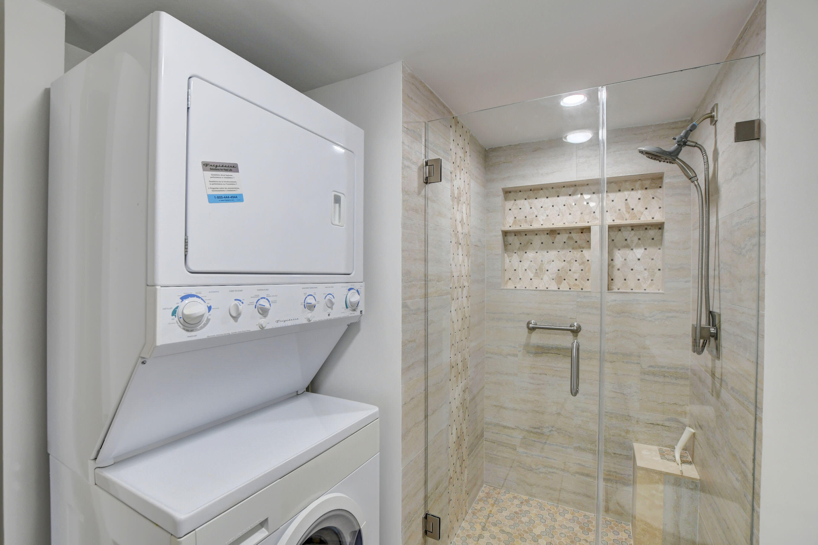 washer and dryer in guest bath