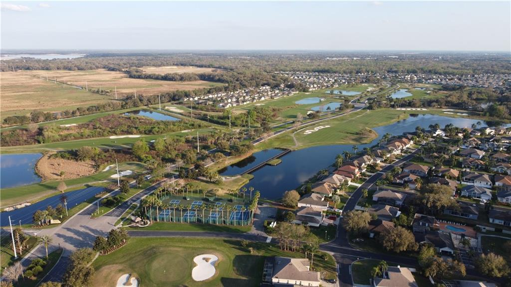 Aerial view of the Golf Course, RWL Tennis and Pickleball courts